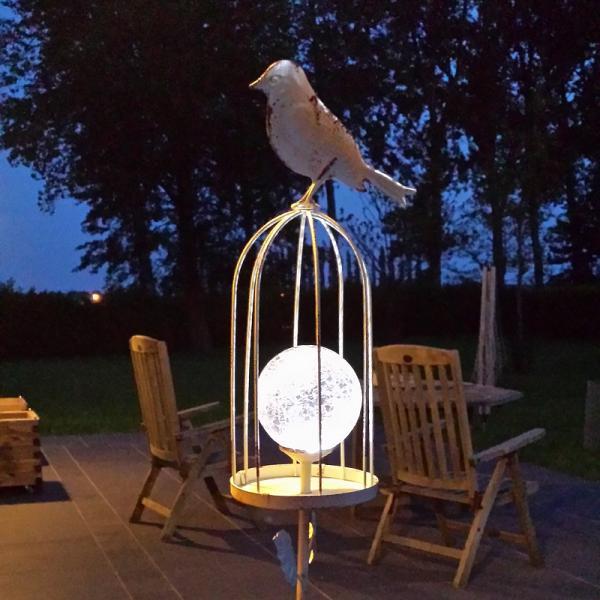 Vogelkooi met solar lichtbol