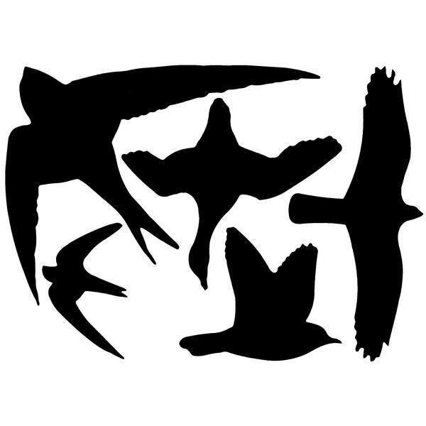 Vogelwering stickervel met 5 vogelsilhouetten