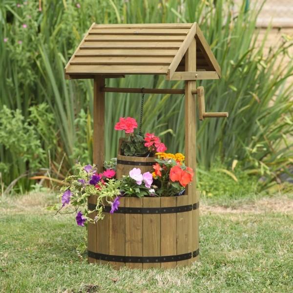 Wensput Wishing Well houten bloembak