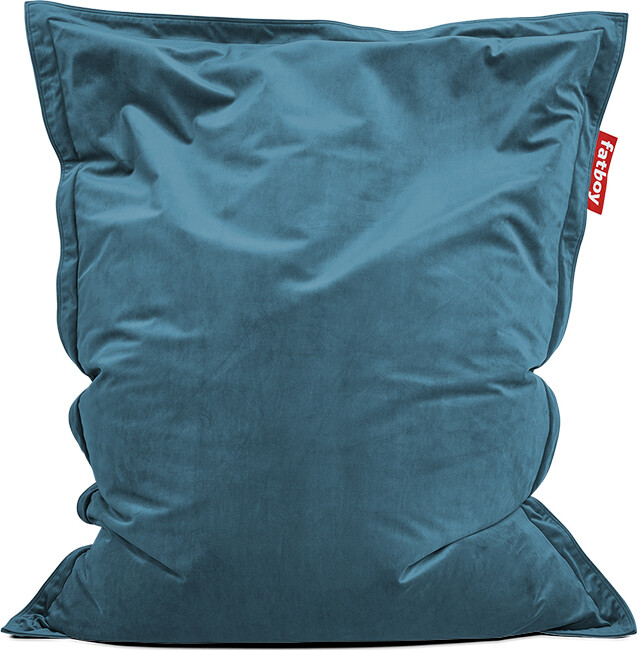 Zitzak Fatboy original indoor Slim Recycled Velvet 155 X 120 cm grijsblauw
