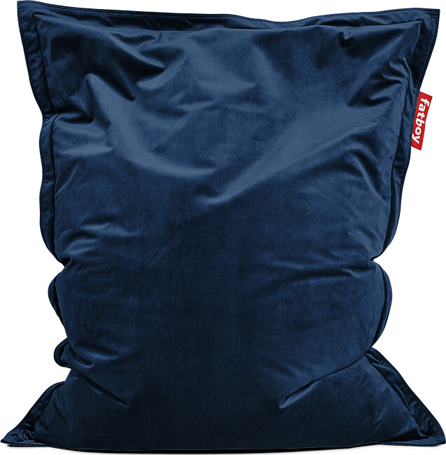 Zitzak Fatboy original indoor Slim Recycled Velvet 155 X 120 cm donkerblauw